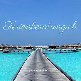 Ferienberatung.ch powered by aktivWEB Logo und Schriftzug mit Wasservillas